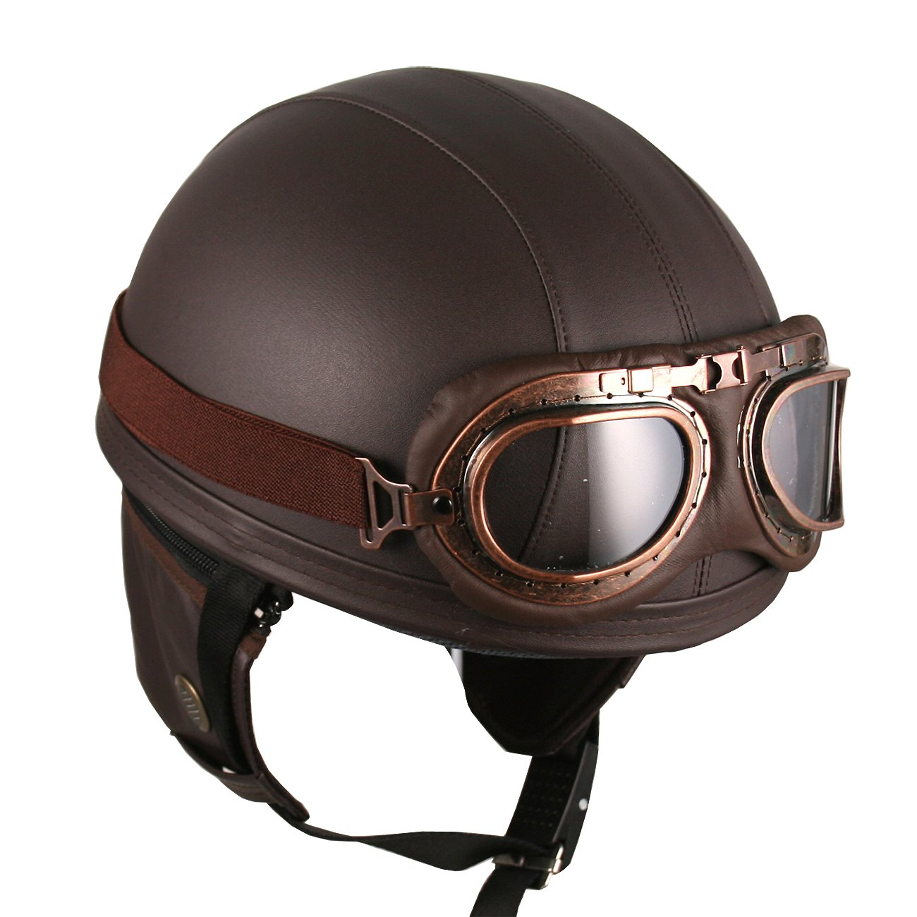 Leather Goggles German Vintage Style Half 1/2 Helmet Motorcycle Biker Cruiser Scooter Touring Helmet (Brown) 0