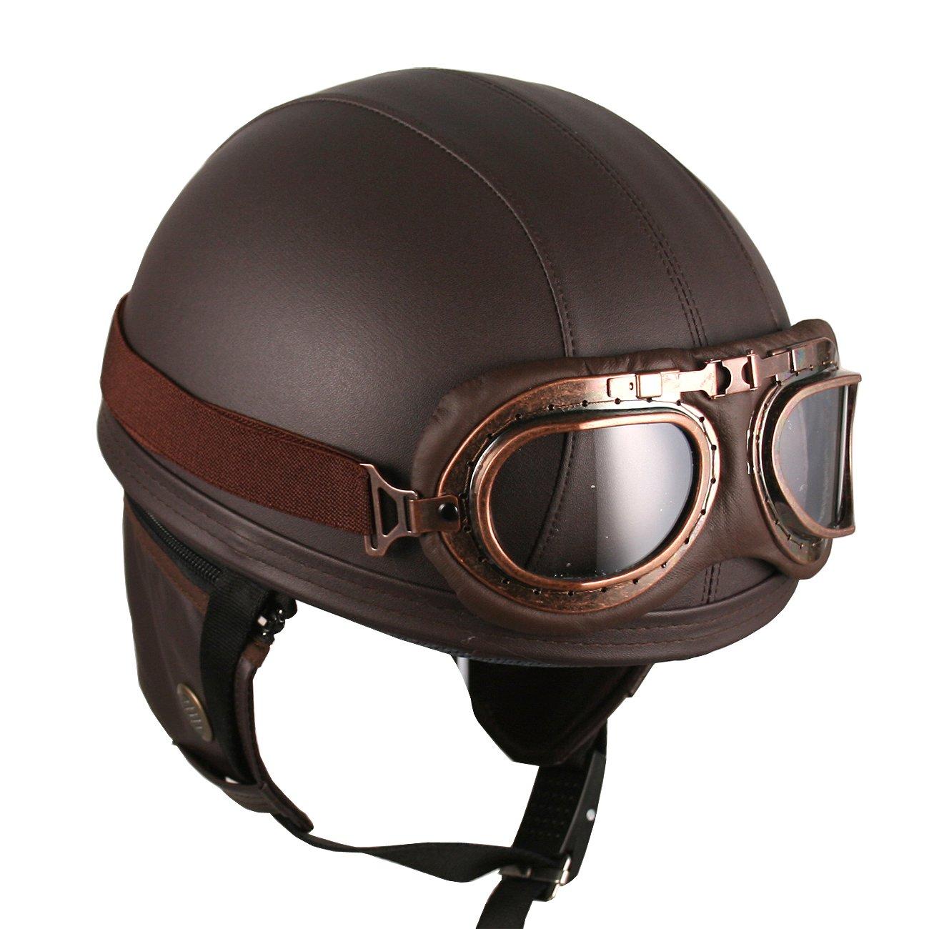 Leather Goggles German Vintage Style Half 1/2 Helmet ...