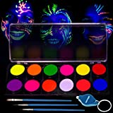 Glow in The Dark Paint – UV Fluorescent Face & Body Paint – 12 x 10ml Professional Best Quality Paints - Glow in The Dark Blacklight Reactive Costume Makeup Party Supplies - Free Stencils (Color: White, Tamaño: 12 Color UV)