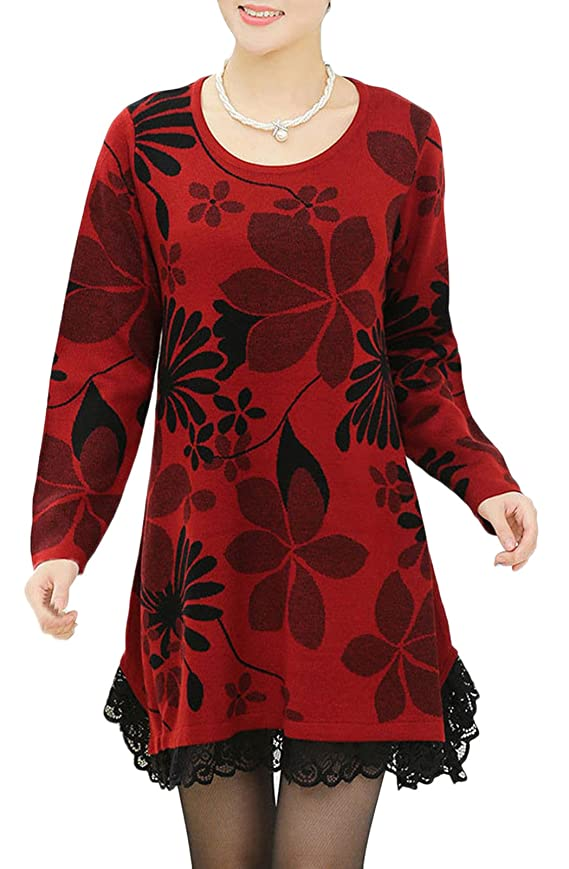 ShanMou Women's Loose Sweater Lace Edge Dress Plus Size