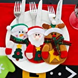 Christmas decorations,IEason 3pcs Christmas Xmas Decor Santa Kitchen Tableware Holder Pocket Dinner Bag (Red) (Color: Red, Tamaño: L)