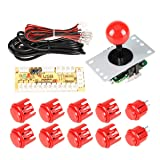 EG STARTS Zero Delay USB Encoder To PC Controller OEM 5Pin Joystick + 10 Push Buttons For Arcade DIY Kits Parts Mame #Red (Tamaño: PT-RED01)