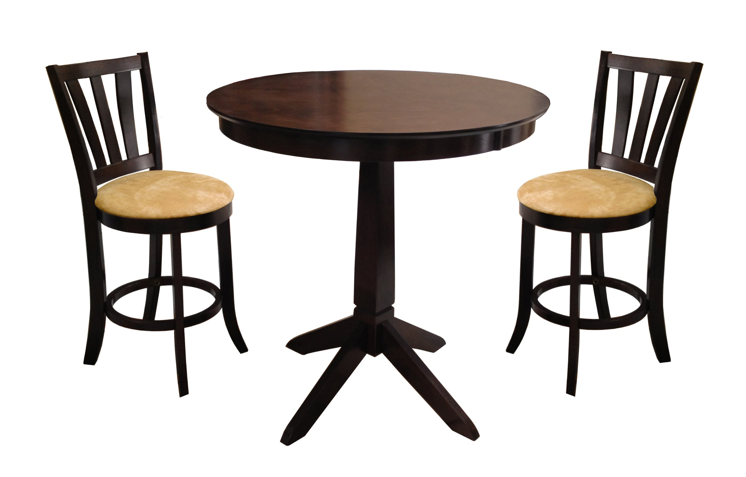 Espresso counter height dining bar table and 2 bar stools for Table height stools