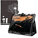 kwmobile Case for Huawei MediaPad T3 10 - Slim PU Leather Protective Tablet Cover with Stand Feature - White/Black (Color: .Dandelion Love white / black)