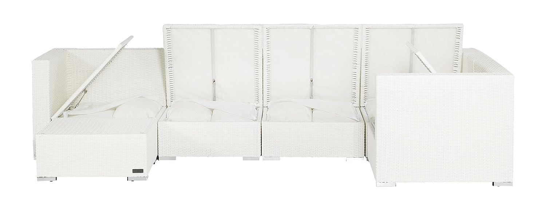 Outflexx Gartenmöbel Garnitur, Polyrattan XL 1146 w29 Box, weiß