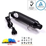 Heat Gun,mofa Hot Air Gun Tools Shrink Gun with Stand For DIY Embossing And Drying Paint Multi-Purpose Electric Heating Nozzle 300W 110V (Black,Black) (Color: Black,Black, Tamaño: Small)