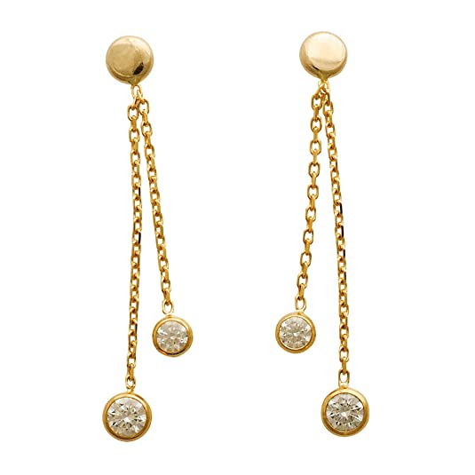 So Chic Jewels - 9k Yellow Gold - Cubic Zirconia and 2 Strings Dangle Earrings