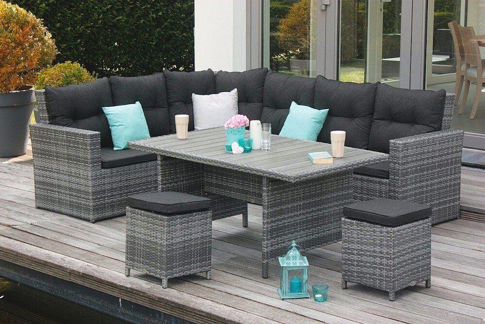 aluminium geflecht eckloungegarnitur gartenm bel set. Black Bedroom Furniture Sets. Home Design Ideas