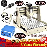 Desktop Engraver Machine, USB 4 Axis CNC 3040T Router DIY Engraver Engraving Milling Machine, 3D Woodworking Carving Cutting Cutter, Precise Stepping Motor for Industrial Hobby Prototype Building