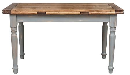 Table extensible Country en bois de tilleul massif Structure Gris Antique plan Finition naturel L160x PR90x H80cm