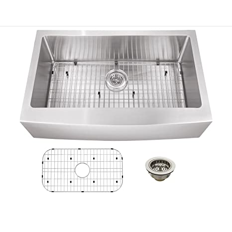 "33"" x 20"" Stainless Steel 16 Gauge Apron Front Single Bowl Kitchen Sink"