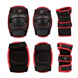 2  item_name  Sports Protective Gear safety pad Safeguard (Knee Elbow Wrist) Support Pad Set equipment for Adult roller bicycle BMX bike skateboard extreme sports bogu protector Guards Pads (Black+Red, S) (Color: Black Red, Tamaño: Small)