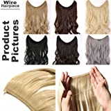 Miracle Translucent Invisible Wire Fish Line on Clip in Hair Extensions 16 20 24 Inch Straight Wavy Curly Synthetic Hairpieces (Color: Bleach Blonde, Tamaño: 16