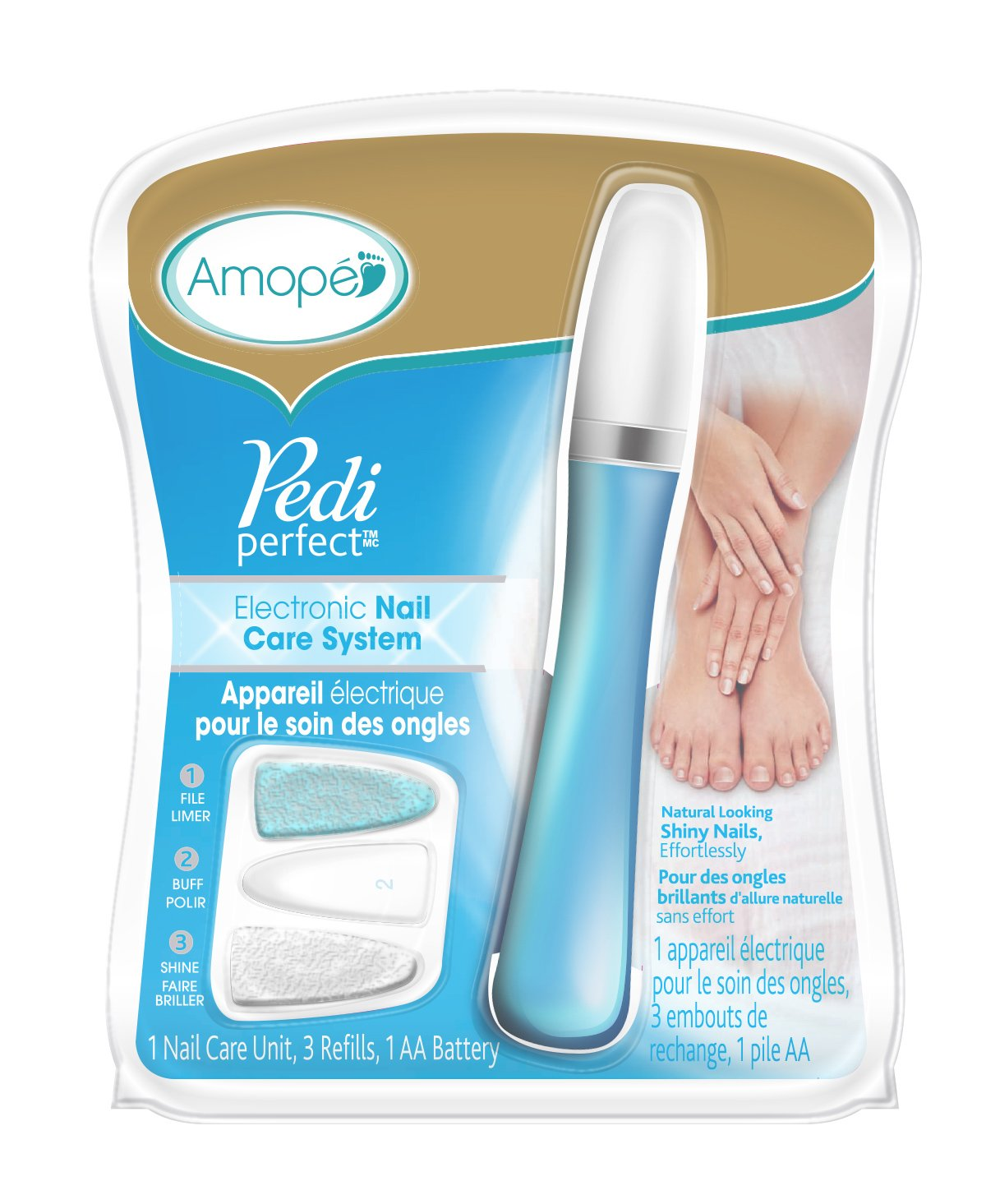 Amope Pedi Perfect Electronic Nail Care System-Pedicure/Manicure-File, Buff and Shine Nails Effortlessly-3 Refills and AA Battery Included