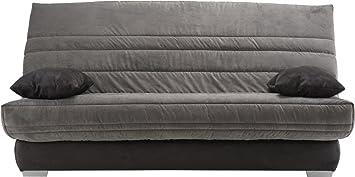 Sitzbank Schlafcouch Mikrofaser grau Matratze sofaconfort Schaumstoff