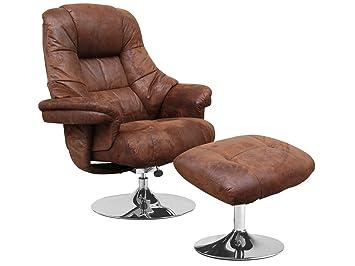 Relaxsessel mit Hocker Vintage braun 360° Fernsehsessel TV Sessel Armsessel