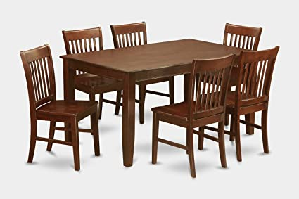 East West Furniture DUNO7-MAH-W 7-Piece Dining Table Set