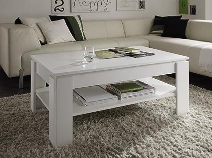 Dreams4Home Couchtisch ' Poem' Wohnzimmer Wohnzimmermöbel Sofatisch Beistelltisch in verschiedenen Farbausfuhrungen Holznachbildung, Farbe:Weiß