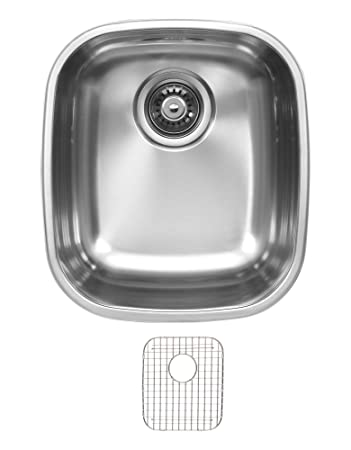 Ukinox D345.8.G Modern Undermount Single Bowl Stainless Steel Kitchen Sink with Bottom Grid