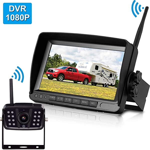 Amtifo FHD 1080P Digital Wireless Backup Camera With 7'' DVR Monitor Support Split/Quard Screen For Pickups,Trucks,Trailers,RV,5th Wheels High-Speed Observation System,Guide Lines ON/Off