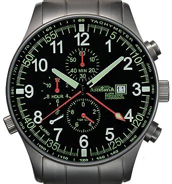Astroavia P7S -Montre Homme - Quartz Analogique - Chronographe - Alarme -  Bracelet Acier  Montres. df649959ba9