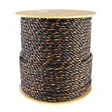 Polypro California Truck Rope (5/8 inch) - SGT KNOTS -Twisted Polypropylene Rope - Floating Rope - for Cargo Straps, Tie-Downs, Gear Bundles, Hauling, Boating, More (600 feet, Black and Orange) (Color: Black, Tamaño: 5/8 inch x 600 feet)