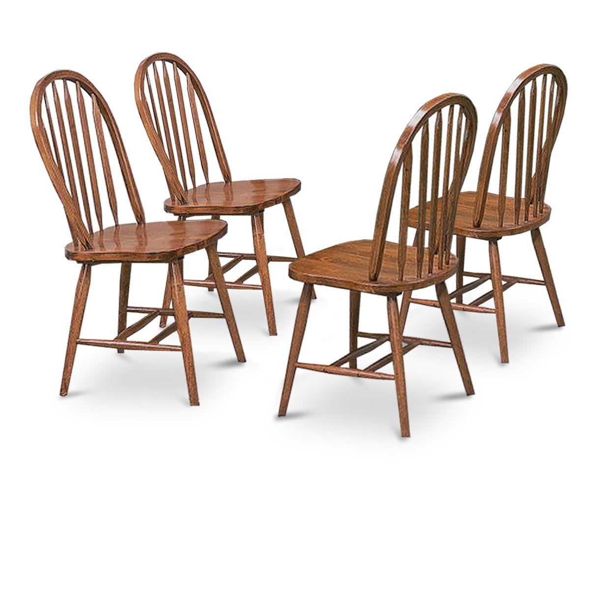 Oak Kitchen Chairs: 4 Dark Oak Stain Kitchen Dining Arrow Back Chairs Set