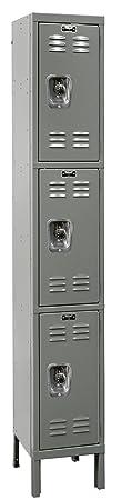 """Hallowell URB1288-3A-HG ReadyBuilt Locker, 12"""" Width x 18"""" Depth x 78"""" Height, Triple Tier, 1-Wide, Assembled, 725 Gray"""