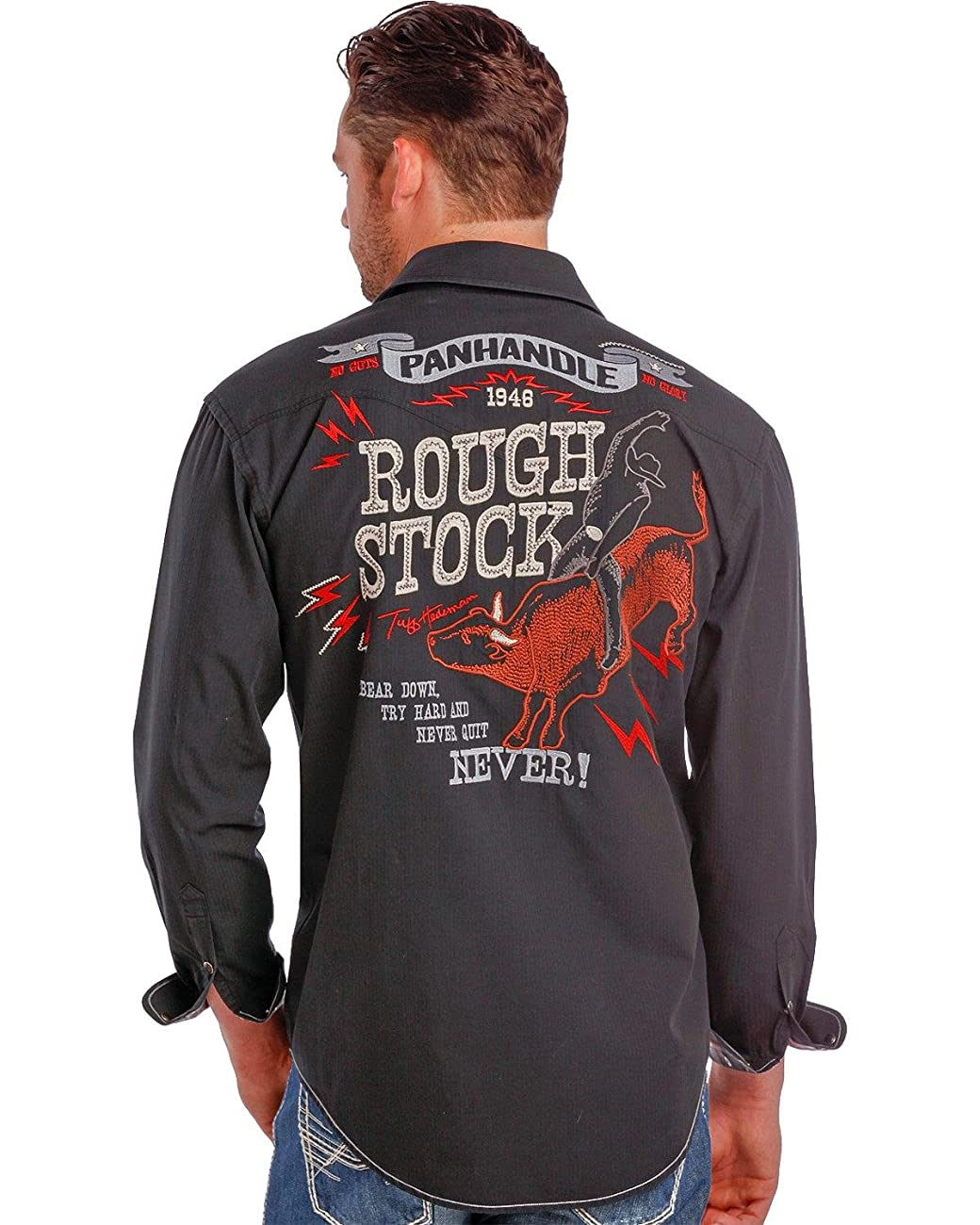 Panhandle Slim Men's Rough Stock By Vintage Bull Rider Logo Western Shirt - R0f9267-01 0