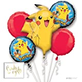 Andaz Press Balloon Bouquet Party Kit with Gold Cards & Gifts Sign, Pokemon Video Game Birthday Foil Mylar Balloon Decorations, 1-Set (Color: Pokemon)