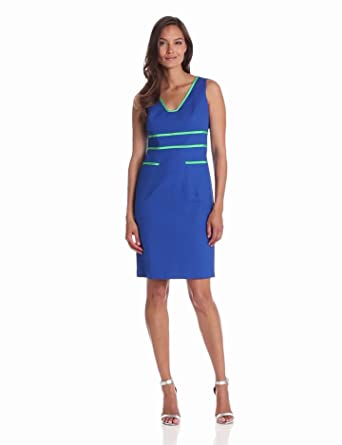 Anne Klein Women's Contrast Trim Sheath Dress, Azure, 4