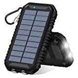 Solar Charger 15000mAh ADDTOP Portable Power Bank with Dual USB 2.4A Waterproof Battery Pack Flashlight for iPhone, Samsung, iPad, Smart Phone (Color: Dark)
