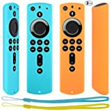 [2 Pack] Anti Slip Protective Case for Fire TV Stick 4K / Fire TV Cube/Fire TV (3rd Gen) Compatible with All-New 2nd Gen Alexa Voice Remote Control (Turquoise and Orange) (Color: Turquoise and Orange, Tamaño: fire tv stick 4K remote)