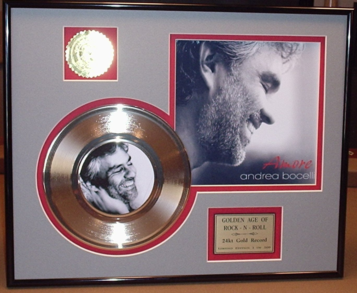 Andrea Bocelli Framed 24Kt Gold Record Display blake shelton laser etched with lyrics to god gave me you limited edition gold record display