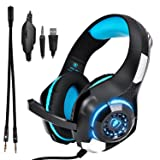 Beexcellent GM-1 Over-Ear Wired 3.5mm Pro Gaming Headset Surround Sound Gaming Headphone with LED Effect and Microphone for PC, Laptop, Tablet, PS4, Xbox, Cell Phone (Blue) (Color: Blue)
