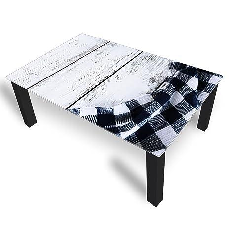 Couchtisch von DekoGlas Tischdecke Schwarz 45cm hoch – Tisch mit Glasplatte 120x75cm Beistelltisch Glastisch Kaffeetisch Teetisch Wohnzimmertisch