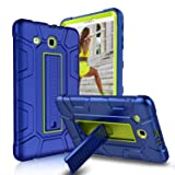 Zenic Samsung Galaxy Tab E 9.6 Case, Three Layer Heavy Duty Shockproof Full-body Protective Hybrid Case Cover With Kickstand for Galaxy Tab E 9.6 inch SM-T560/SM-T561/SM-T567 (Yellow/Blue) (Color: Yellow/Blue)