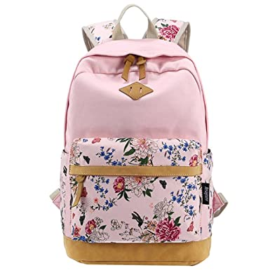 Rural Floral Canvas Backpack College Students Shoulder Bag Travel Rucksack Pink