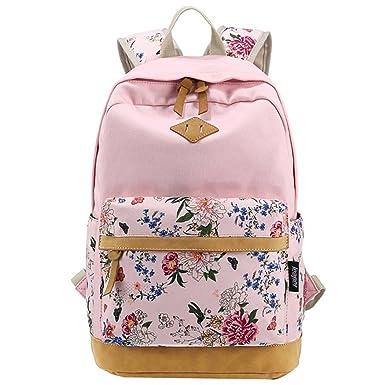 Rural Floral Canvas Backpack College Students Shoulder Bag Travel Rucksack Pink