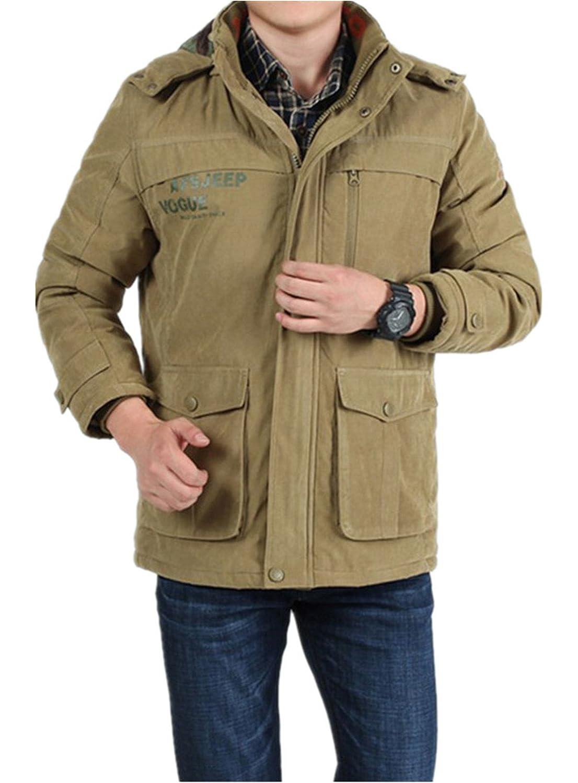 BININBOX® Herren Verdickung Wintermantel Baumwoll-Bekleidung mit abnehmbarer Kapuze Wintermantel