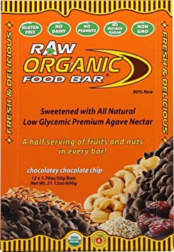Organic Food Bar, Raw Organic Food Bar, Chocolatey Chocolate Chip, 12 Bars, 1,76 Unzen (50 g) Jeder
