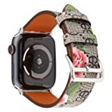 Flower Leather Watch Band for Apple Watch Series 4 44mm,Series 3 2 1 42mm Gray Pink iwatch Strap Belt Wristwatch Bracelet. (Gray Pink-42/44) (Color: Gray Pink-42/44)