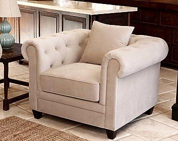 Morgan Beige Velvet Fabric Tufted Armchair