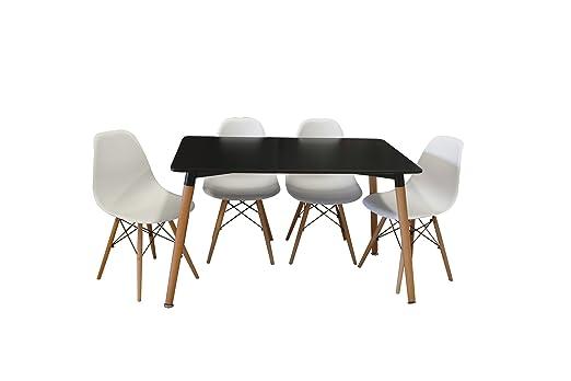 Conjunto mesa Eames negro 120 x 80 cm. + 4 silla623