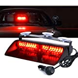 Xprite Red 16 LED High Intensity LED Law Enforcement Emergency Hazard Warning Strobe Lights For Interior Roof / Dash / Windshield With Suction Cups (Color: Red)