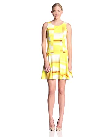 Trina Turk Women's Lellani Ombre Cube Ponte Sleeveless Flared Dress, Yellow, 0