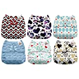 Mama Koala One Size Baby Washable Reusable Pocket Cloth Diapers, 6 Pack with 6 One Size Microfiber Inserts (Heart Singing) (Color: Heart Singing, Tamaño: One Size)