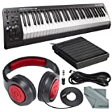 M-Audio Keystation 61 II MIDI Keyboard Controller and Deluxe Bundle w/Keyboard Sustain Pedal, Headphones, MIDI Cable, Fibertique Cloth