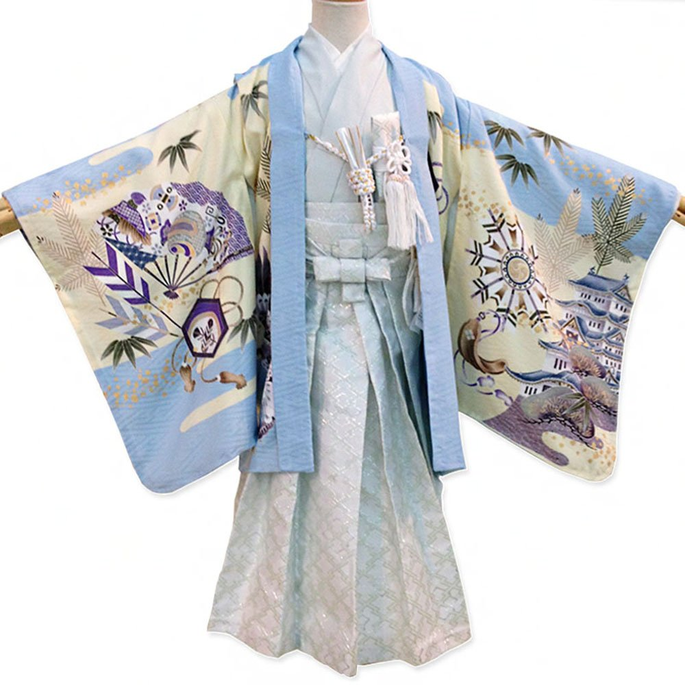 羽织袴セット 乙叶hm-1 七五三 五歳 男児 水色城に飞翔鹰×银白色袴
