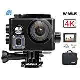 WiMiUS Action Camera, Sports Camera 4K WiFi Ultra HD Waterproof Camera 40M with 2 Rechargeable Batteries (Black)